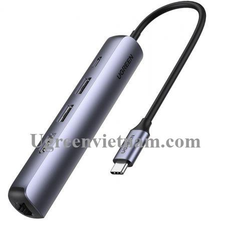 Ugreen 10919 5 trong 1 4K 60Hz PD 100W 1000Mbps màu xám Bộ chuyển type c ra 2 * USB 3.0 A + HDMI + RJ45 giga + PD CM418 20010919