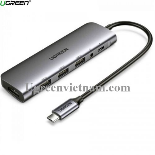 Ugreen 80132 100W PD + AUX 3.5mm support Mic + HDMI 4K 30hz + 3 * USB 3.0 A Bộ chuyển đổi USB type C sang 6 trong 1 màu xám CM136 20080132