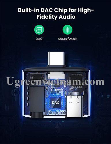 Ugreen 70311 PD 30W vỏ nhôm Usb type c sang 3.5mm 110dB Bộ chuyển đổi có chipset CM231 20070311