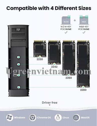 Ugreen 10902 0.5M m.2 nvme usb type c 10gbps hộp ổ cứng ssd màu xám kèm cáp 2 đầu C 3.1 Gen 1 CM400 20010902