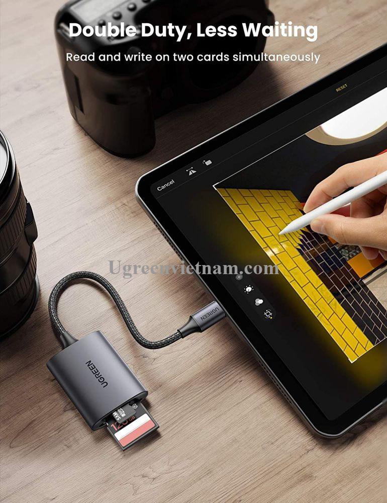 Ugreen 80888 SD/TF chuẩn USB 3.1 Type C Đầu đọc thẻ nhớ vỏ nhôm cao cấp CM401 20080888