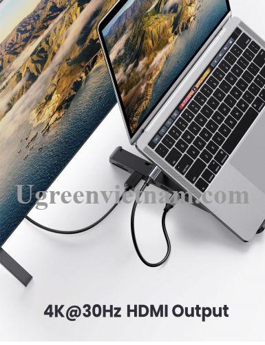 Ugreen 80551 5 trong 1 Bộ chuyển Type C sang 2*USB 3.0 A + HDMI + SD-TF + giá đỡ máy tính CM359 20080551