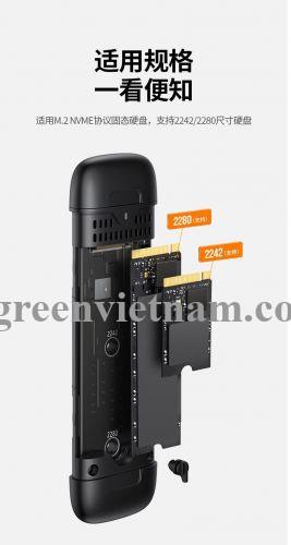 Ugreen 70532 M.2 M-Key 10G ra USB type C + USB-A hộp ổ cứng CM298 20070532