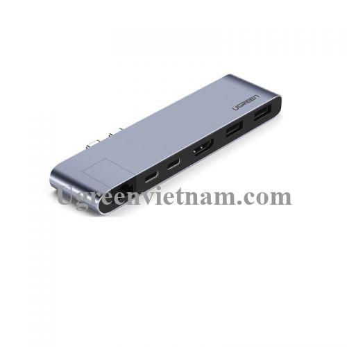 Ugreen 50984 Màu Xám Bộ Bộ chuyển đồi 2 TYPE C sang 2 USB 3.0 + HDMI + LAN + 2 TYPE C PD âm CM218