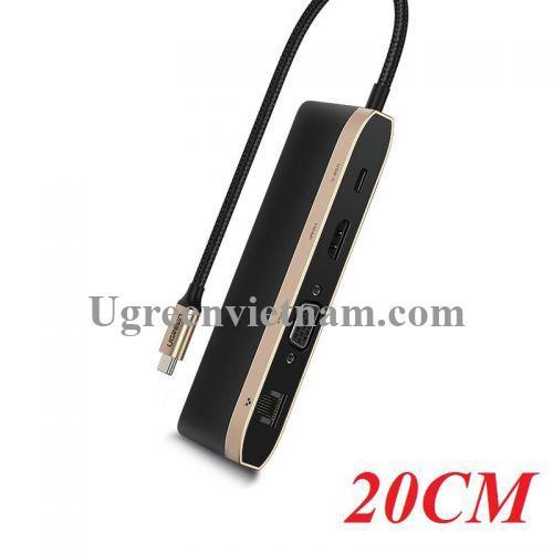 Ugreen 50988 Bộ chuyển đổi TYPE C  sang 3 USB 3.0 + HDMI + VGA + LAN + TF SD + nguồn TYPE C CM221