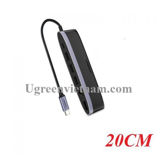 Ugreen 50989 Bộ chuyển đổi TYPE C sang 3 USB 3.0 + HDMI + LAN + nguồn TYPE C CM222