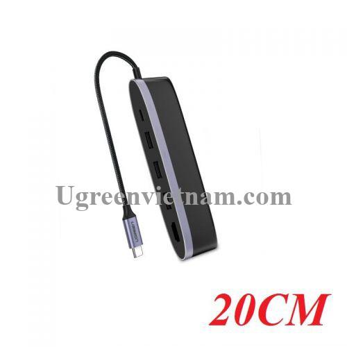 Ugreen 50990 Bộ chuyển đổi TYPE C sang 3 USB 3.0 + HDMI + nguồn TYPE C CM223