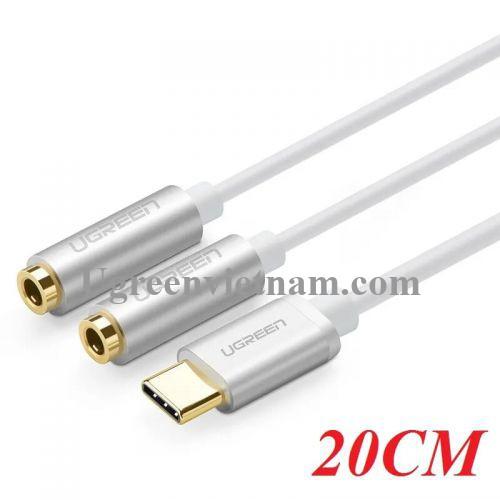 Ugreen 30732 20CM màu Trắng Cáp chuyển đổi TYPE C sang 2 đầu 3.5mm đầu mạ vàng  AV144