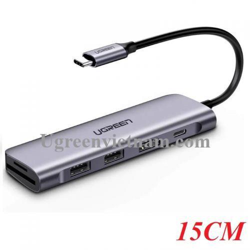 Ugreen 70411 Bộ chuyển đổi TYPE C sang 2 USB 3.0 + HDMI + SD TF + nguồn TYPE C CM195
