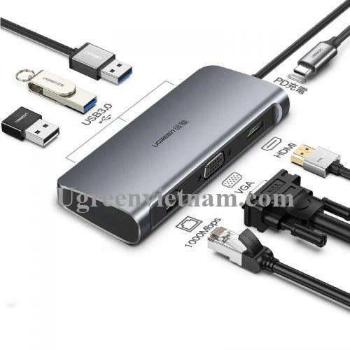 Ugreen 60557 Bộ chuyển đổi TYPE C sang 3 USB 3.0 + HDMI + VGA + LAN + nguồn TYPE C CM212