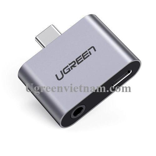 Ugreen 70312 2 trong 1 màu xám bộ chuyển USB type C ra 3.5mm audio và sạc nhanh cổng c chuẩn pd CM193 20070312