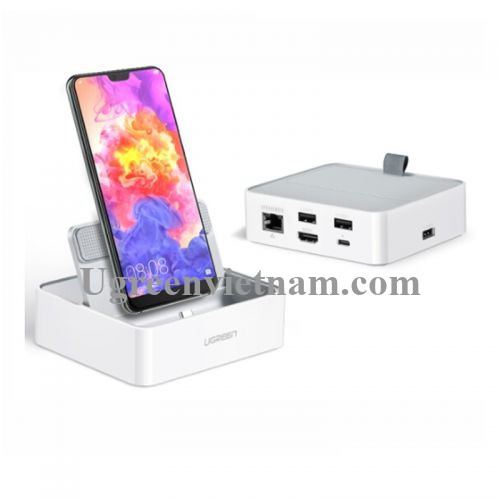 Ugreen 50597 Màu Trắng Đế Chuyển Đổi USB TYPE C Sang 3 USB 3.0 + HDMI + Lan  + cổng nguồn TYPE C  CM194