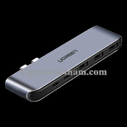 Ugreen 50775 Bộ chuyển đổi 2 TYPE C sang 3 USB 3.0 + hỗ trợ 2 nguồn TYPE C CM206