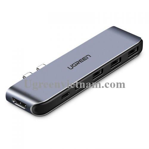 Ugreen 50963 Bộ chuyển đổi 2 TYPE C sang 3 USB 3.0 + HDMI + hỗ trợ 2 nguồn TYPE C CM206
