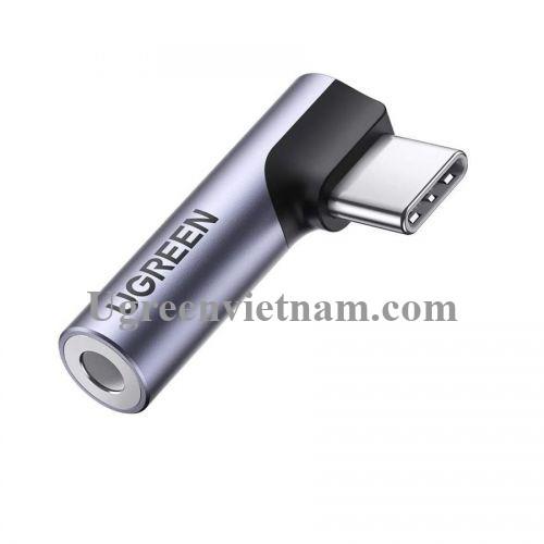 Ugreen 80384 Jack chuyển USB type C bẻ góc 90 độ ra 3.5mm Headphone Audio AV154 20080384