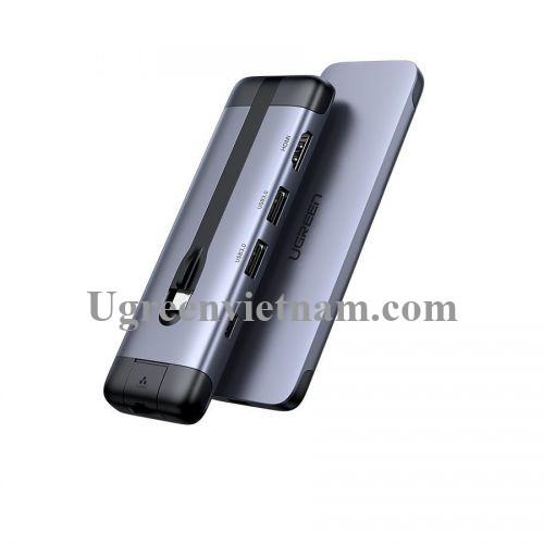 Ugreen 70508 5 trong 1 bộ chuyển usb Type-C ra hdmi + PD 12W + 3x usb 3.0 + LAN RJ45 CM287 20070508