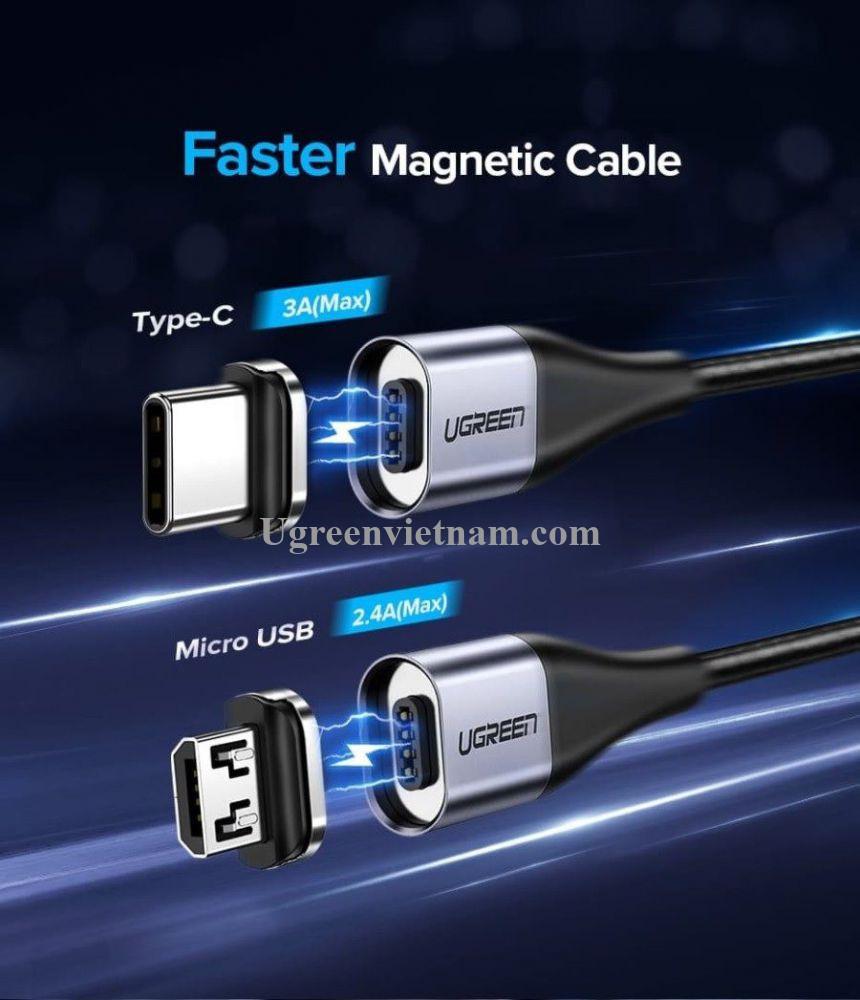 Ugreen 60209 Đầu Micro USB hít nam châm dùng chung cho dây USB từ tính ED023 20060209