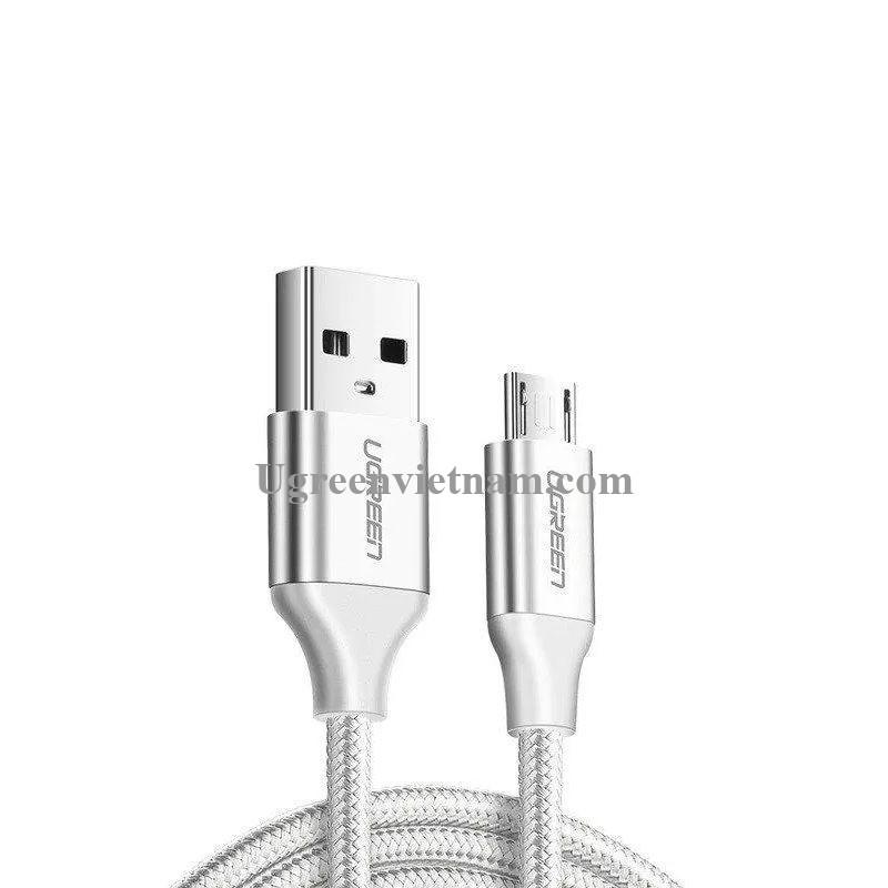 Ugreen 60404 3M QC3.0 màu trắng đầu bọc nhôm chống nhiễu cáp Micro sang USB 2.0 sạc và truyền dữ liệu từ máy tính ra điện thoại US290 20060404