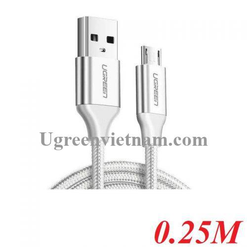 Ugreen 60149 25cm QC3.0 màu trắng đầu bọc nhôm chống nhiễu cáp Micro sang USB 2.0 sạc và truyền dữ liệu từ máy tính ra điện thoại dài 0.25m US290 200604149