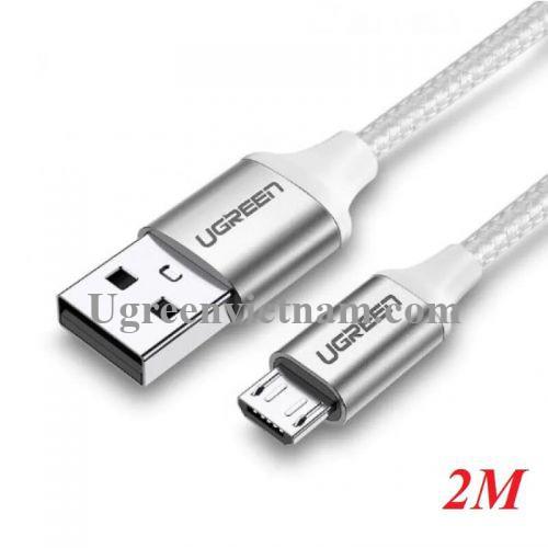 Ugreen 60153 2m Cáp micro usb 2.0 bọc nhôm chống nhiễu US290 20060153
