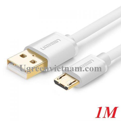 Ugreen 10848 1M màu Trắng Cáp sạc truyền dữ liệu USB 2.0 sang MICRO USB lõi đồng US125 20010848