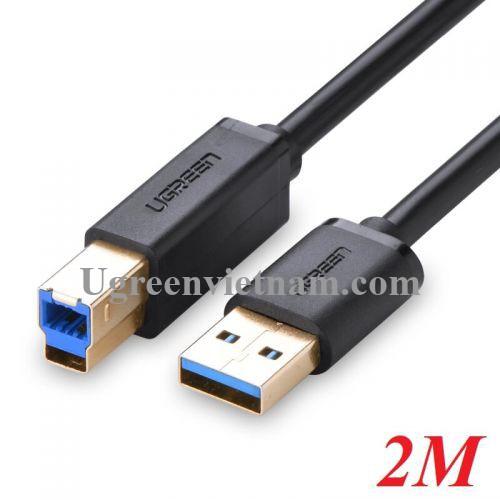 Ugreen 10372 2M màu Đen Cáp USB 3.0 sang USB B 3. 0 máy in đầu mạ vàng US210 20010372