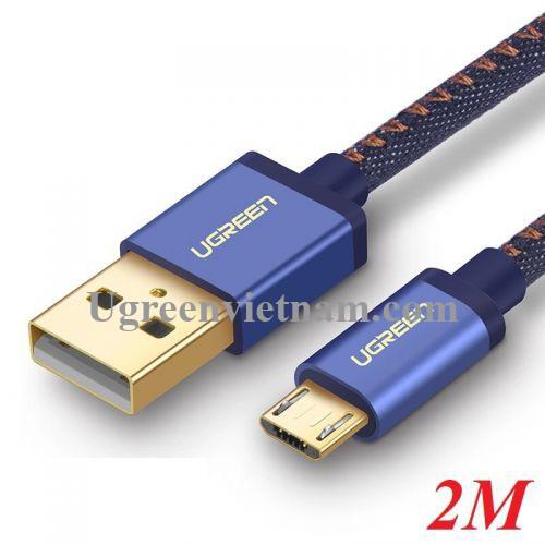 Ugreen 40399 2M màu Xanh dương Cáp sạc truyền dữ liệu USB 2.0 sang MICRO USB dây bọc lưới US246 20040399