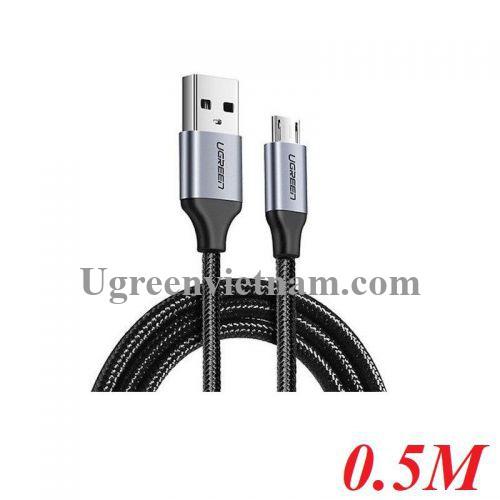 Ugreen 60145 0.5M màu Đen Cáp sạc truyền dữ liệu USB 2.0 sang MICRO USB vỏ dây bọc lưới US290 20060145