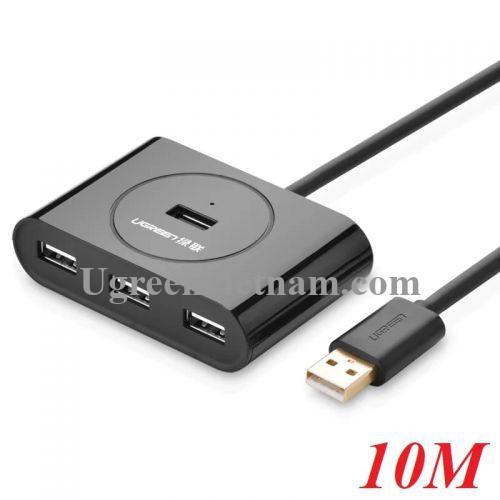 Ugreen 20217 10M màu Đen Bộ chia HUB USB 2.0 sang 4 cổng USB 2.0 cao cấp CR119 20020217