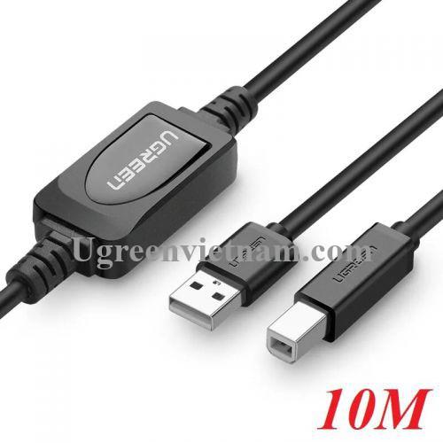 Ugreen 10374 10M màu Đen Cáp USB 2.0 sang USB B máy in có chip khuếch đại US122 20010374