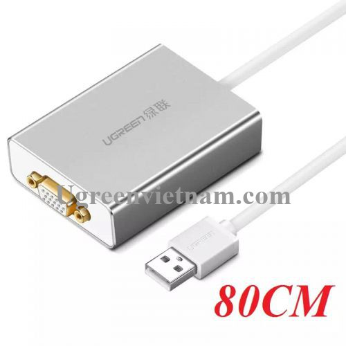 Ugreen 40244 80CM Cáp chuyển USB 2.0 sang VGA cao cấp 40244