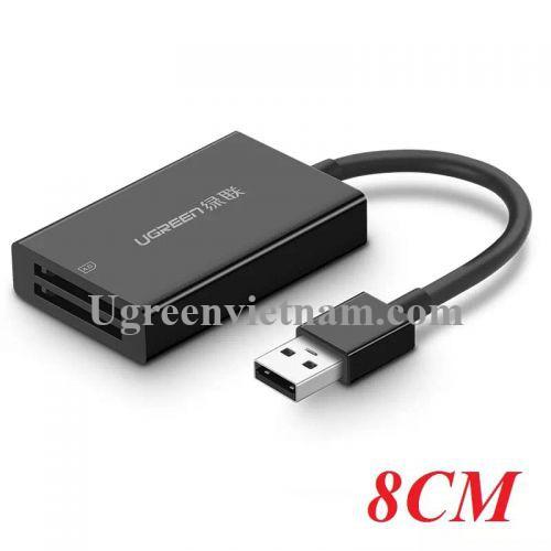 Ugreen 40748 8CM màu Đen Đầu đọc thẻ USB 3.0 sang 2 cổng SD 4.0 cao cấp CM103