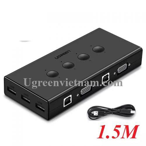 Ugreen 50280 1.5M màu Đen Bộ chuyển mạch KVM gộp 4 thiết bị vào 1 màn hình hỗ trợ 3 cổng USB CM154
