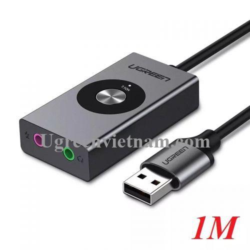 Ugreen 50711 1M Bộ chuyển USB âm thanh 7.1 hỗ trợ Loa + Mic CM190