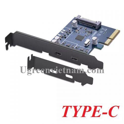 Ugreen 30773 Card PCI Express sang 2 cổng TYPE C 3.1 Cao Cấp US230