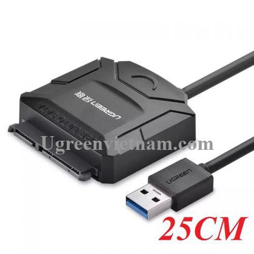 Ugreen 20611 25CM màu đen Bộ chuyền USB 3.0 sang SATA cho ổ cứng có hỗ trợ nguồn 20611