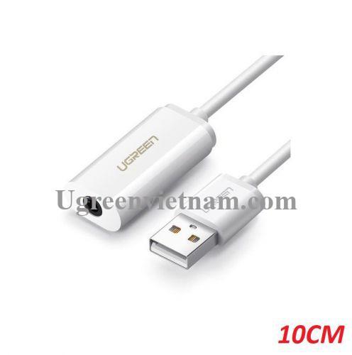 Ugreen 40520 USB 2.0 ra 3.5mm Aux bộ chuyển âm thanh không có micro màu trắng US206 20040520