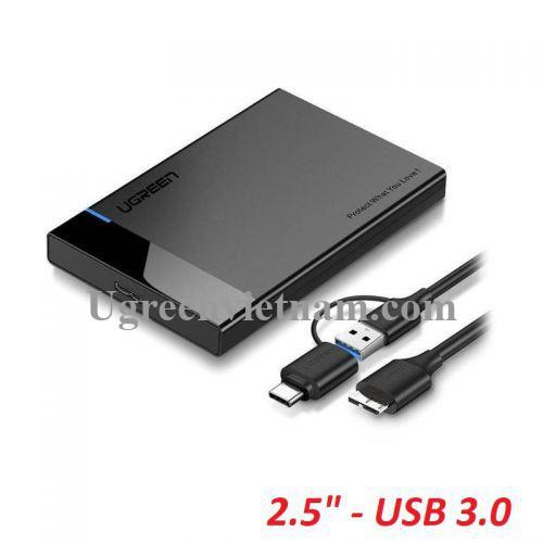 Ugreen 60734 USB 3.0 5Gbps ra 2.5inch SATA hộp đựng ổ cứng US221 20060734