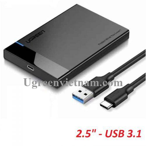 Ugreen 60735 USB typec 3.1 gen2 ra 2.5inch 6G hộp đựng ổ cứng kèm 1 sợi cáp 2 trong 1 Type C ra A + C US221 20060735
