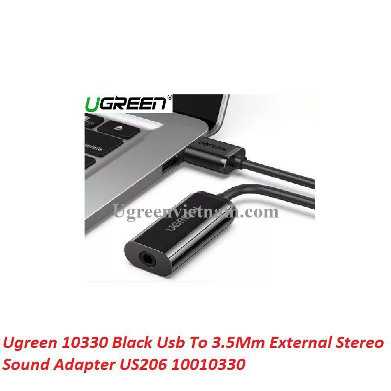 Ugreen 10330 Black Usb To 3.5Mm External Stereo Sound Adapter US206 20010330