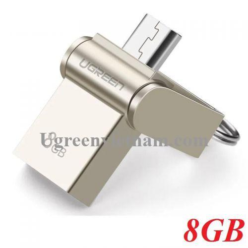 Ugreen 30430 8G màu Bạc USB thẻ nhớ 2.0 + MICRO USB hỗ trợ OTG US179