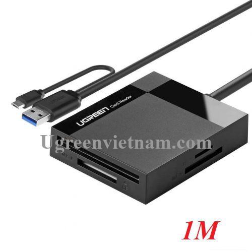 Ugreen 30334 1M màu đen đầu đọc thẻ USB 3.0 All in One có OTG cổng micro cho android CR125 20030334