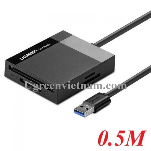 Ugreen 30231 0.5M màu Đen Đầu đọc thẻ USB 3.0 sang SD + TF + CF + MS cao cấp 30231