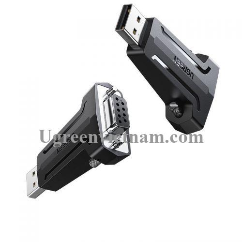 Ugreen 80111 màu đen đầu chuyển usb ra cổng com 9 pin Db9 Rs232 chân cái CM326 20080111