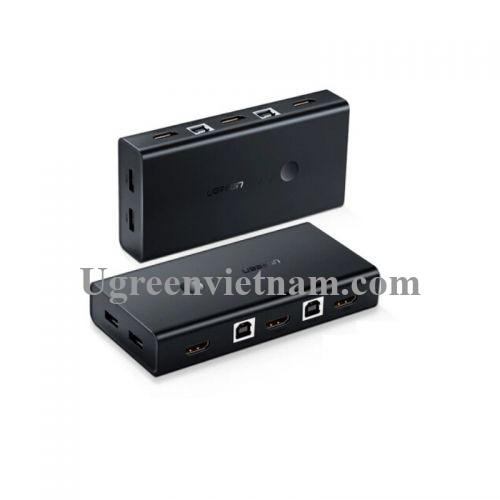 Ugreen 50744 Màu Đen Bộ chuyển mạch KVM gộp 2 máy tính 1 màn hình CM200
