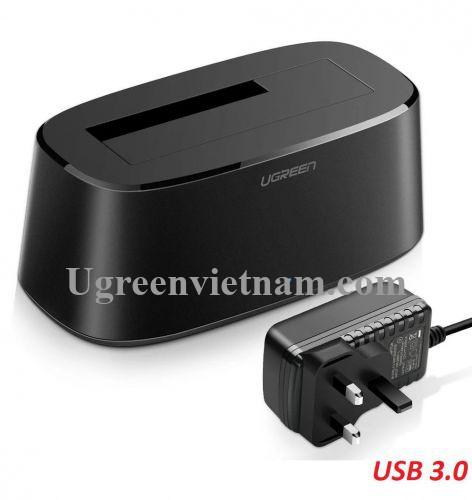 Ugreen 50847 đế đơn docking station cho ổ cứng USB 3.0 màu đen chân cắn nguồn chuẩn UK CM197 20050847