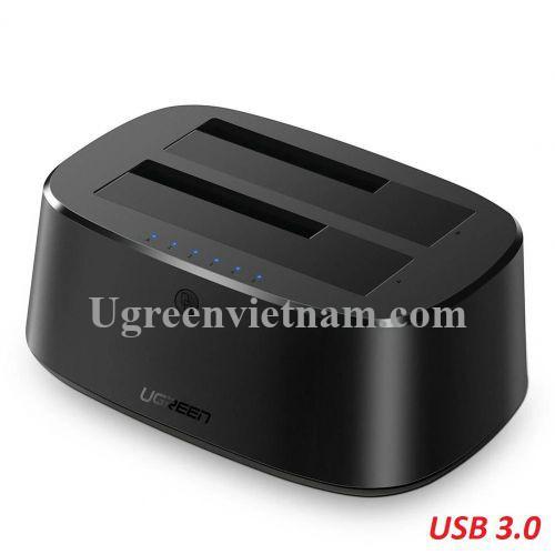 Ugreen 50856 đế đôi docking station cho ổ cứng sata USB 3.0 màu đen chân cắn nguồn chuẩn UK CM198 20050856
