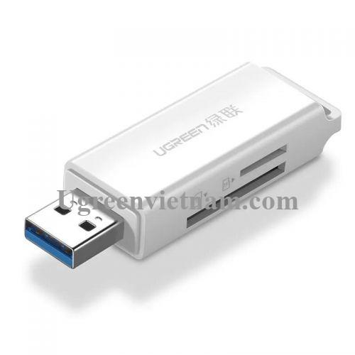 Ugreen 40751 Màu Trắng Đầu Đọc Thẻ Nhớ SD/TF USB 3.0 CM104