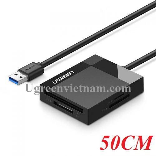 Ugreen 30229 0.5M Màu Đen Đầu đọc thẻ USB 3.0 hỗ trợ thẻ TF/SD/CF/MS CR125