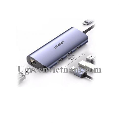Ugreen 60719 hub USB 3.0 ra 3*USB 3.0 + 10/100/1000 gigabit lan màu xám chất liệu nhôm cổng nguồn micro CM252 20060719